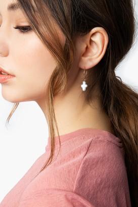 Topshop Womens **Pearl Cross Drop Hoop Earrings - Cream