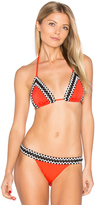 Sauvage Woven Trim Triangle Bikini Top