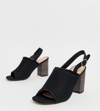Park Lane wide fit canvas sling back block heels-Black