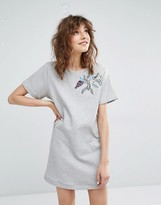 Paul & Joe Sister Oiseline Gray Sweatshirt Dress With Embroidery