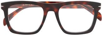 David Beckham Rectangular Frame Tortoise-Shell Glasses