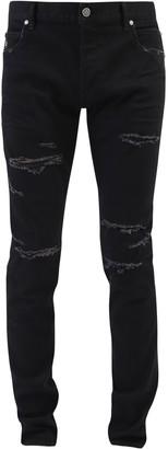 Balmain Mid-Rise Ripped Skinny Jeans