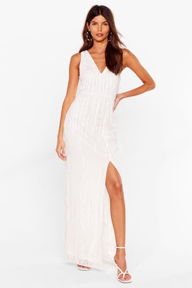 Nasty Gal Womens Tonight's the Night Embellished Maxi Dress - Ivory