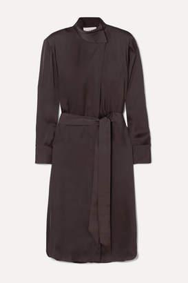 Remain Birger Christensen REMAIN Birger Christensen - Milan Belted Satin Dress - Dark brown