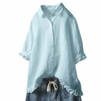 Toamen Women's Top Toamen Shirt Blouse Sale Women Lapel Lace Button Half -Sleeve Solid Color Casual Loose Linen Tops T-Shirt Breathable (Sky Blue S)