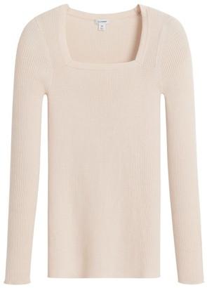 Cuyana Cotton Cashmere Square Neck Rib Sweater