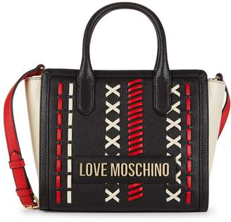 Love Moschino Large Whipstitch Leather Satchel