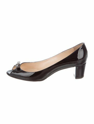 Christian Louboutin Bow-Accented Peep-Toe Pumps Patent Leather Pumps Black