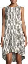 Joan Vass Graphic-Print Linen-Blend Dress