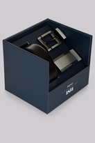 Moss Bros Black Two Buckle Belt Gift set
