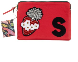 Laines London Embellished Flower Heart Personalised Classic Leather Clutch Bag - Medium - Red /Black