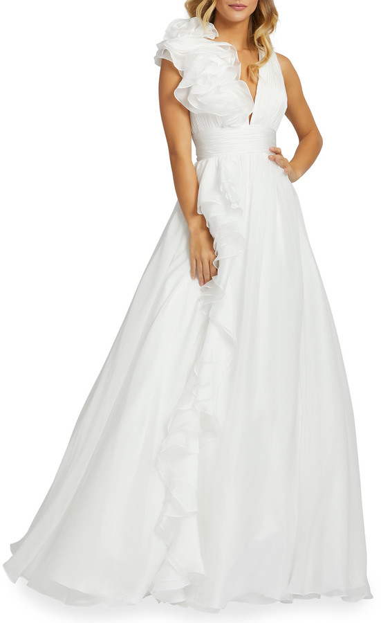 Thumbnail for your product : Mac Duggal Sleeveless Floral Ruffle Ruched Chiffon Ball Gown