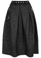 High Burletta Pleated Wool Blend Midi Skirt