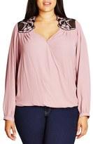City Chic Plus Size Women's 'Angelic' Lace Applique Wrap Front Top