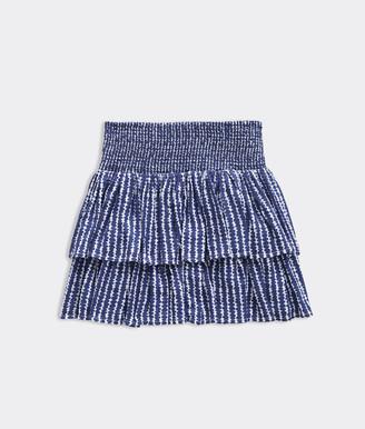 Vineyard Vines Girls' Smocked Dot Stripe Tiered Skirt