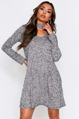 boohoo Choker Neck Plunge Melange Swing Dress