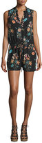 Rebecca Taylor Meadow Sleeveless Floral-Print Romper, Black/Combo