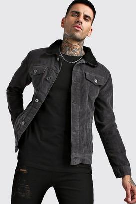 boohoo Mens Grey Regular Fit Borg Collar Cord Jacket, Grey