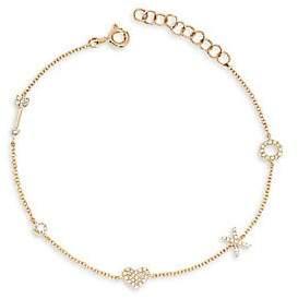 Ef Collection Women's 14K Yellow Gold & Diamond Sweetheart Charm Bracelet