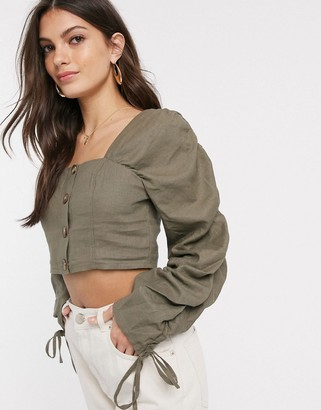 ASOS DESIGN top with button front and ruched sleeve