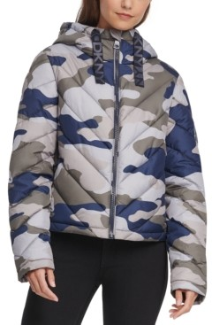 DKNY Hooded Camo Quilted Jacket