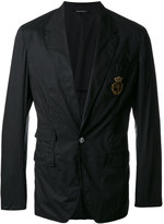 Dolce & Gabbana logo emblem blazer - men - Silk/Cotton/Polyester/Brass - 48