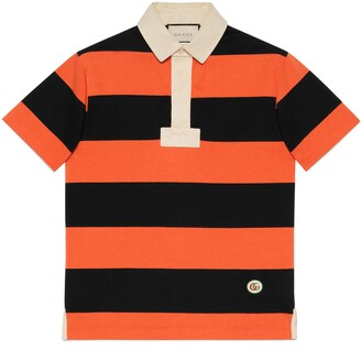 Gucci Striped cotton polo with patch