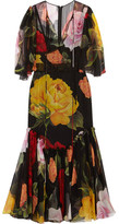 Dolce & Gabbana Floral-print Silk-chiffon Midi Dress - Black