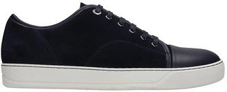 Lanvin Captoe Low Sneakers In Blue Suede And Leather