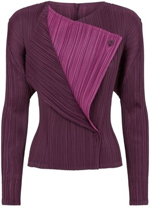 Pleats Please Issey Miyake Double-Breasted Cardigan