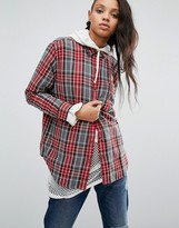 Obey Oversized Boyfriend Shirt In Flannel Check With Rose Pocket Pin