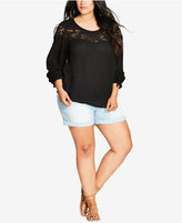 City Chic Trendy Plus Size Lace-Trim Top