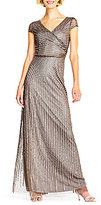 Adrianna Papell Petite Cap-Sleeve Beaded Gown