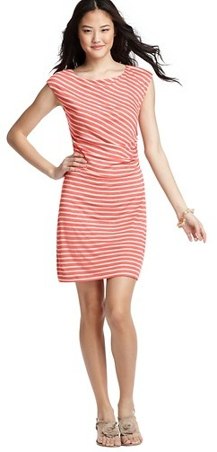 LOFT Petite Stripe Side Shirred Cap Sleeve Dress