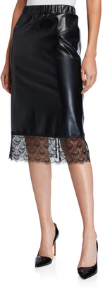 MICHAEL Michael Kors Faux leather Lace-Hem Pencil Skirt