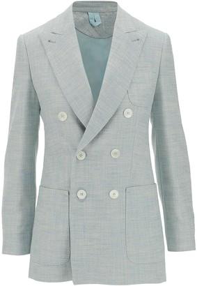 Max Mara Silk & Linen Double-Breasted Tailored Blazer