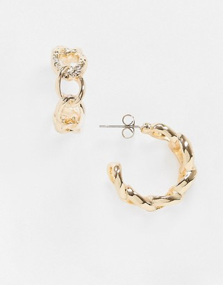 Pieces chunky chain hoops in gold
