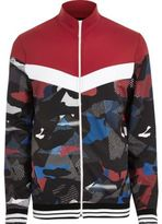 River Island Mens Red camo print track jacket