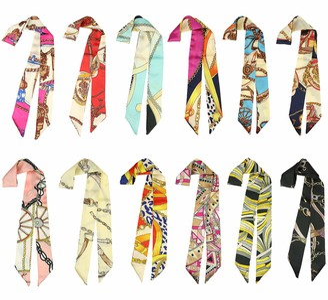 Lamdgbway 12 pcs Hairband Head Scarf Handbag Handle Ribbon Neckerchief Scarf for Women