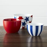 Crate & Barrel Stars and Stripes Porcelain Bowls Set of Three