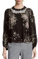 Giambattista Valli Floral Printed Silk Top