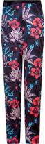Horizon teal floral silk pants
