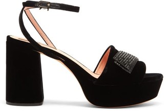 Rochas Crystal-embellished Velvet Platform Sandals - Black