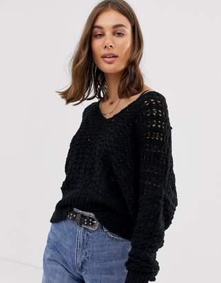 Free People Best Of You crochet knit jumper-Black
