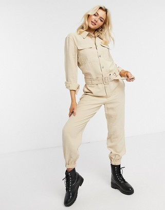 Only Sanni long sleeve utility jumpsuit in cream
