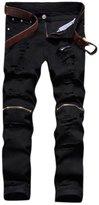 Myncoo Men's Ripped Distressed Slim Fit Jeans Zipper D ̈¦cor