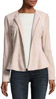 Neiman Marcus Zip-Front Suede Peplum Jacket, Blush