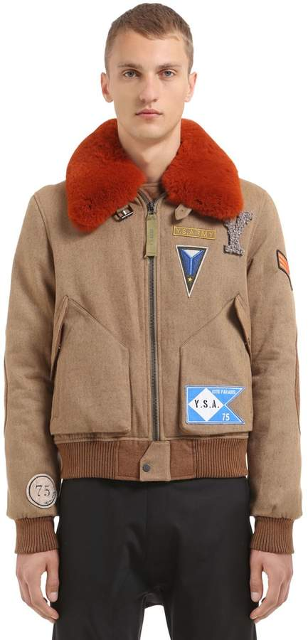 Yves Salomon Wool Blend Bomber Jacket W/ Fur Collar