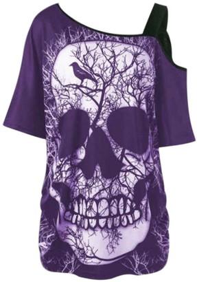 LIKELYY Women Short Sleeve Skew Collar Skull T-Shirt Shoulder Skull T-Shirt Tops Blouse (XXL