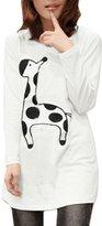 Allegra K Women Scoop Neck Long Sleeves Giraffe Print Tunic Shirt M